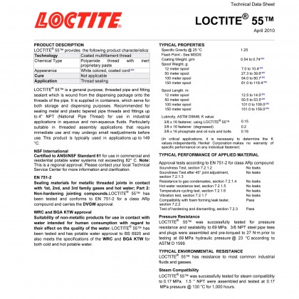 Loctite 55 Pipe Sealing Cord 50 Meter 5010266373706 37370 By Henkel Malaysia Supplier