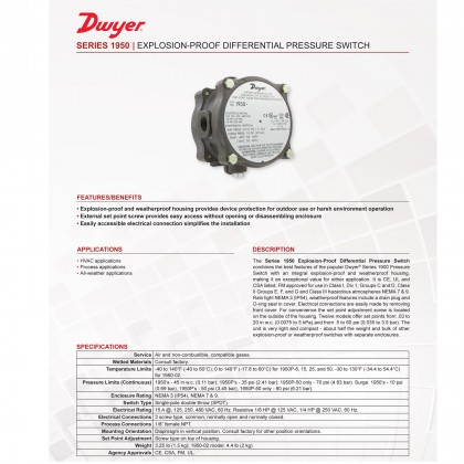 Dwyer Explosion Proof Differential Pressure Switch 1950 Weatherproof Hazardous Use Malaysia Supplier