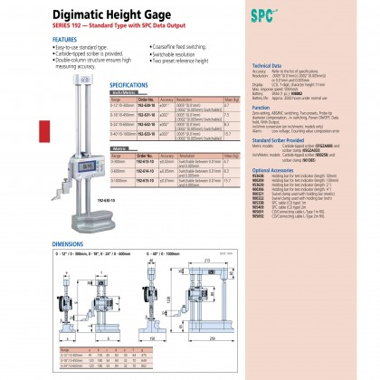 """Mitutoyo Digital Height Gauge 300mm 192-630-10 Absolute Digimatic Height Gage 0-12"""" / 300mm"""