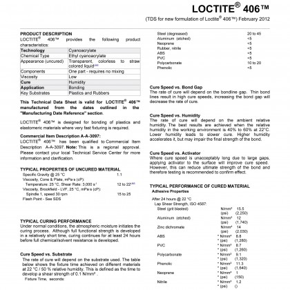 Loctite 406 20g 25634 instant adhesive for plastic and rubber including EPDM