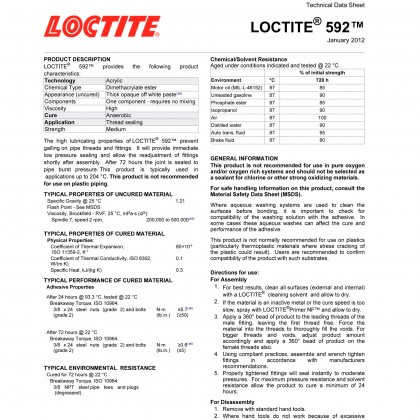 Loctite 592 Pipe Sealant With PTFE 43149 Thread Sealant 50ml